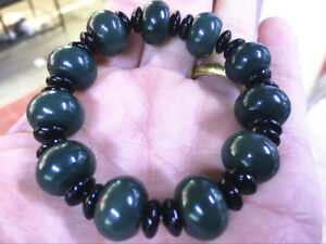 Certification 100% Cyan Natural Hetian Nephrite Jade Bead Bracelet   AAAAA