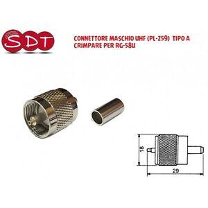 CONNETTORE-MASCHIO-UHF-PL-259-TIPO-A-CRIMPARE-PER-RG-58U