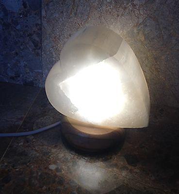 Selenite Crystal Heart Lamp, White, 2.2kg, Reiki, Healing Angel Stone Valentines