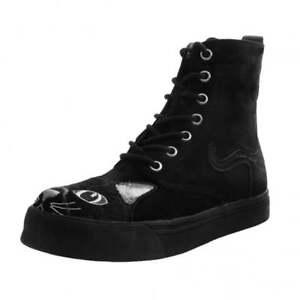 T.U.K. AV9345L Ladies Vegan Suede Combat Boot Sneaker Black Kitty Embroidered