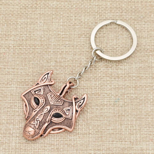 Viking Keychain Charm Alloy Wolf Birf Pendant Key Ring Keyfob Women Girl Gift