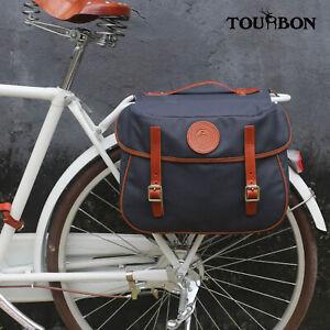 Tourbon Waterproof Canvas Double Bike Pannier Rear Pack Seat Storage Travel Bag