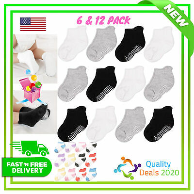 CozyWay Non Slip Toddler Socks Grips Baby Girls Boys 6/&12 Pack Anti Skid Ankle Socks Infant Kids