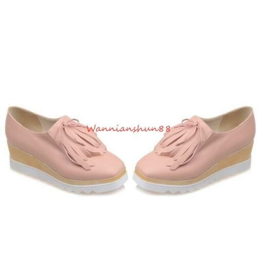Sweet Womens Tassels Round toe Preppy Style Casual Non Slip Platform Flat Shoes