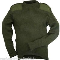 BRITISH ARMY ISSUED GREEN PULLOVER WOOL MARINE JUMPER HUNTING SHOOTING JERSEY