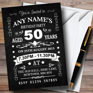 Image Is Loading Chalkboard Black And White 50Th Birthday Party Personalised