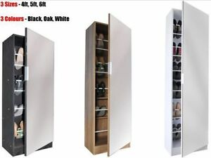 Image is loading Mirrored-Shoe-Cabinet-Storage-Rack-Full-Mirror-4ft- & Mirrored Shoe Cabinet Storage Rack - Full Mirror - 4ft 5ft 6ft ...