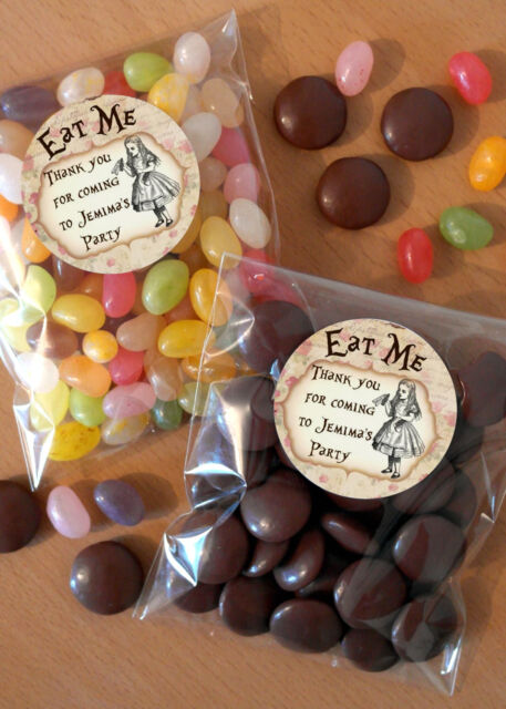 12 Personalised Favour Kits Party Bag Table Sweets Vintage Alice In Wonderland