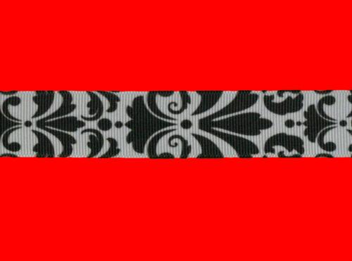 "damask black white grosgrain ribbon 7//8/"" per 1 mtr hair scrapbooking card making"