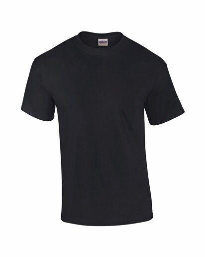 10 GILDAN Billig einfach schwarz Herren schwere Baumwolle T-Shirt kein Logo