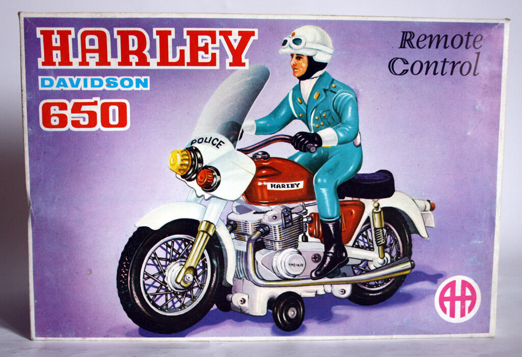 VINTAGE 70'S LITHO HARLEY DAVIDSON POLICE HONDA MOTORCYCLE ANANIADES GREEK NEW