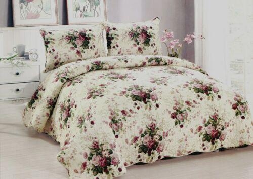 Chinese Rose Quilt Set King Queen 3 Piece Floral Bouquet Farmhouse Reversible