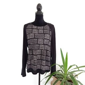 Trenery-Black-amp-White-Long-Sleeve-Patterned-Top-Women-039-s-Size-XL