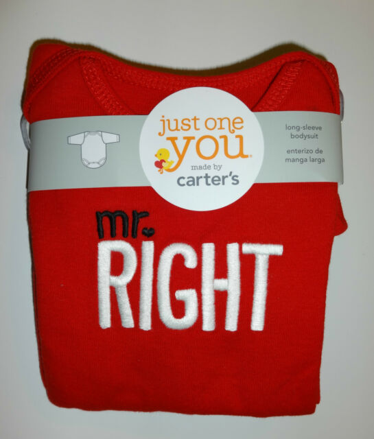 Langarmbody~USA~50-56~Just on you by Carter's~Spruch~Babybody~Body~Mr.RIGHT~rot