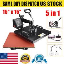 15x15 5 In 1 Heat Press Machine Digital Transfer Sublimation T Shirt Mug Hat U