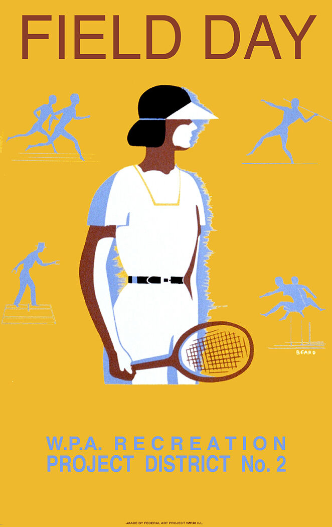 6326.Field day.WPA recreation project POSTER.Home Office art.Tennis.Sports.