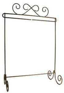 Scroll-Single-Table-Stand-Linen-Craft-Holder-Metal-12in-x-14in