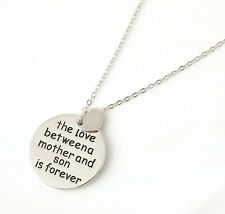 "New Carved Words ""The Love Between A Mother And Son Is Forever"" Necklace Pendant"