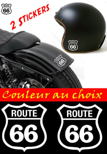 harley casque lot 2 stickers autocollant route 66 moto scooter voiture