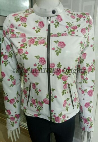 Ladies Fashion Leather Jacket with floral printing
