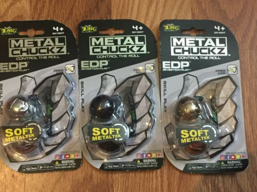 Lot of 3 Zing Metal Chuckz Thumb Chucks Silver Black Gold