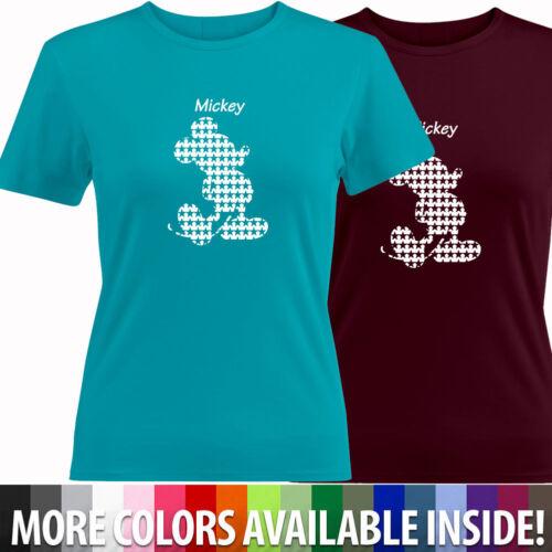 Retro Pixel Star Classic Mickey Mouse Shirt Girls Junior Women Top Tee T-Shirt
