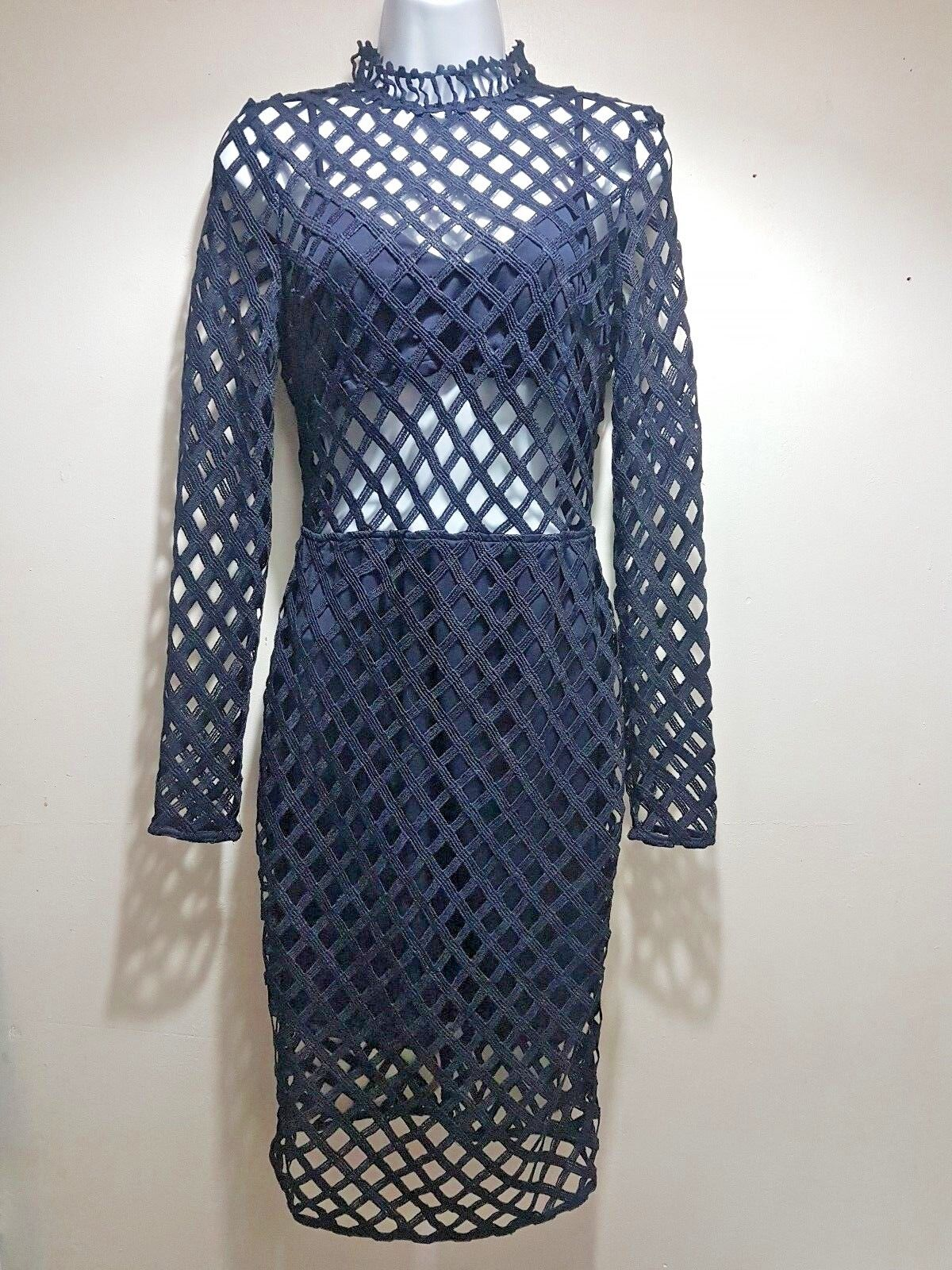 Missguided cage long sleeve Dress Navy size