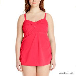 9b7be1ac92 JANTZEN NWT  110 Coral Twist Swimdress Womens PLUS 20W 20 W 2X Tummy ...