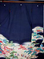 Japan Kimono Vintage Furisode Wedding,  Art (135)