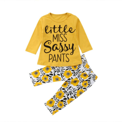 US New Infant Kid Baby Girls Princess Outfits Sassy T-shirt Tops+Floral Pant Set