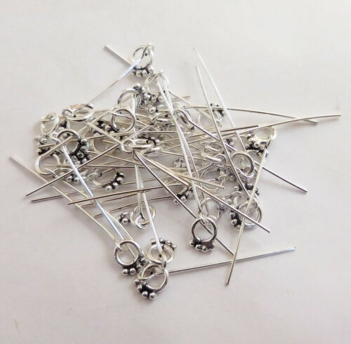30 PCS BALI HEAD PIN ANTIQUE STERLING SILVER PLATED 21 GAUGE 2.5 INCHE 840A1