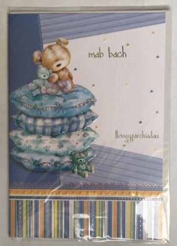 Homme Bach-Llongyfarchiadau-nouveau bébé garçon naissance-Welsh Carte de vœux