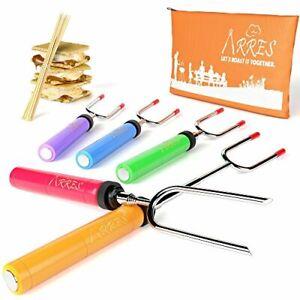 Marshmallow-Roasting-Sticks-Kit-Telescoping-Stainless-Steel-Cookware-Set-Forks