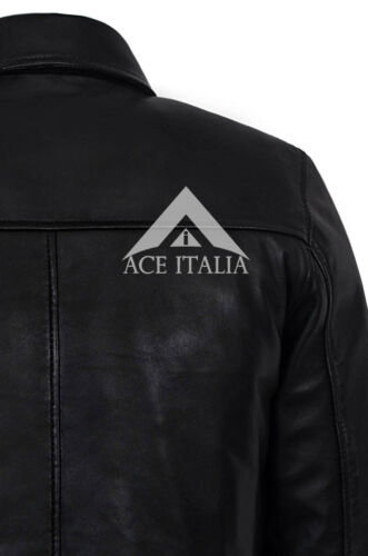Men Classic Style BLACK Zip Collar Designer Casual Soft Real Leather Jacket