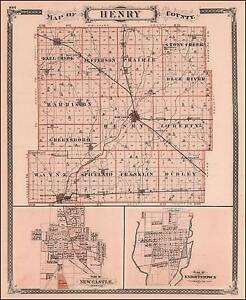 Knightstown Indiana Map.Details About Henry County Indiana New Casatle Knightstown Antique Map Original 1876