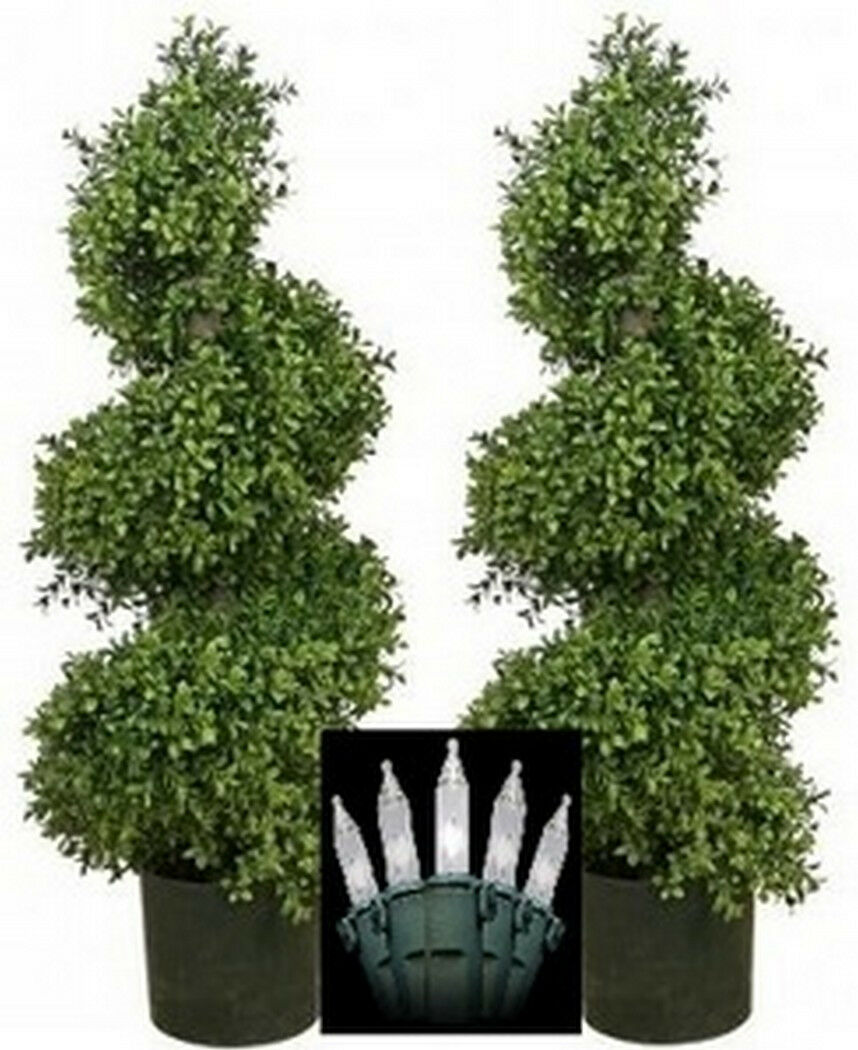 2 Artificial 36  Outdoor Boxwood wide UV Spiral Topiary Tree Christmas Lights 3'
