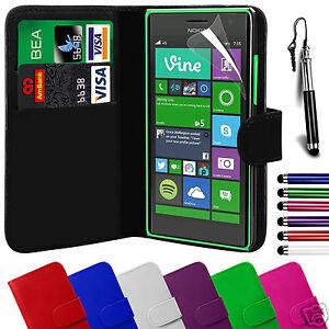 PU-Funda-Cartera-Piel-amp-Pelicula-de-Pantalla-amp-Lapiz-Tactil-para-Nokia-Lumia