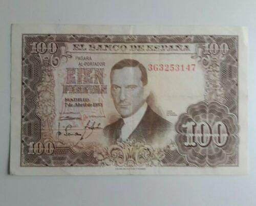 españa 1953 100 pesetas banknote lot of 4 banknotes different prefix Spain note