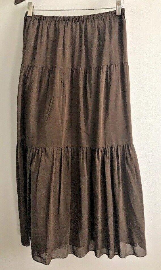 Talbots Skirt Womens Size Small Brown Linen Peasant Prairie Boho Elastic Waist