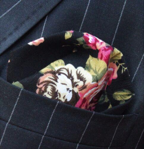 Pañuelo Pañuelo Bolsillo Cuadrado De Algodón Negro con Rosa y Blanco Rosa CH045