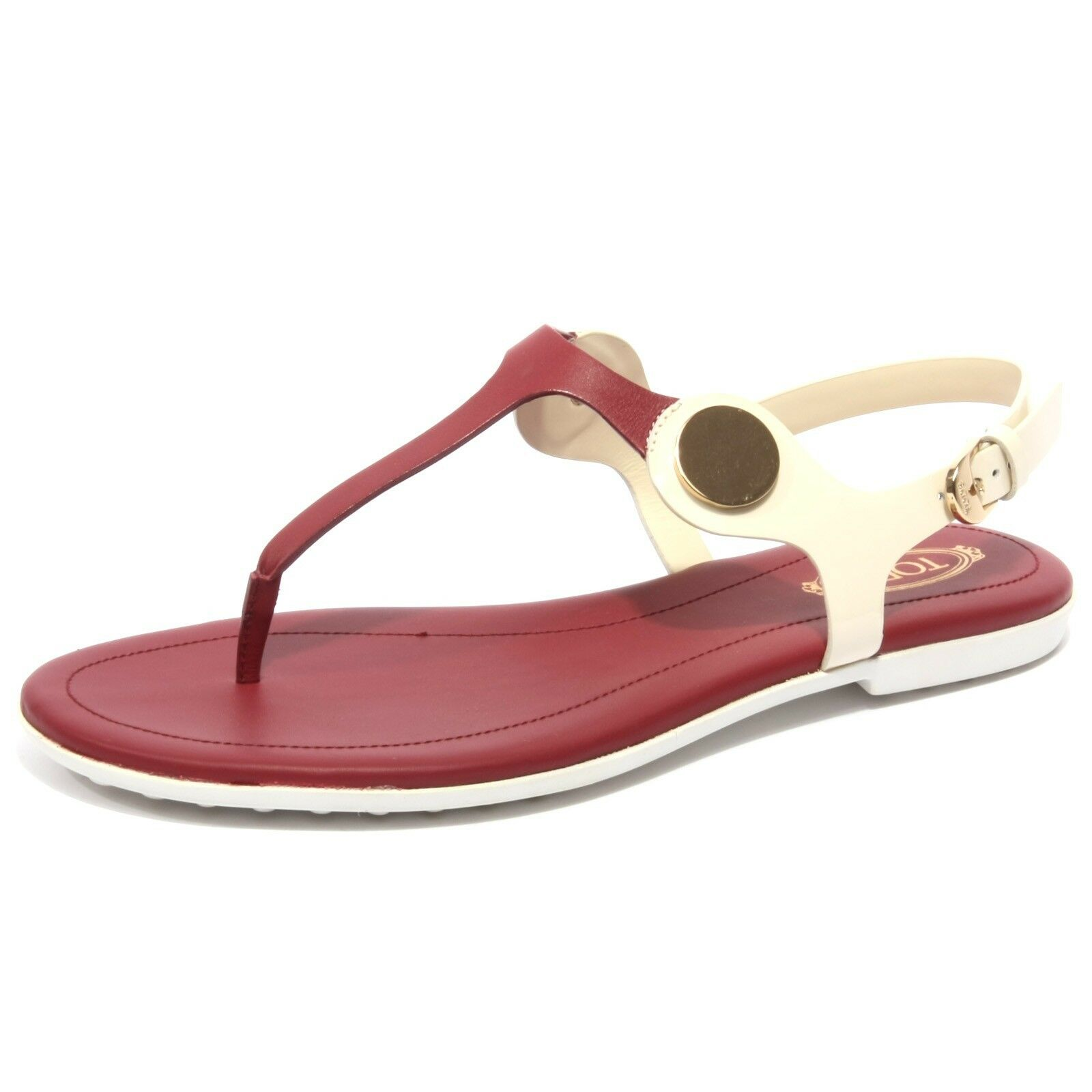 B1672 infradito mujer Tod's sandalo Panna amaranto flip flops zapatos Woman