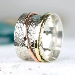 Solid-925-Sterling-Silver-Spinner-Ring-Meditation-Ring-Statement-Ring-Size-SR698