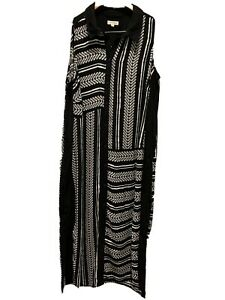 Autograph-Black-And-White-Maxi-Dress-Size-16-Pockets-side-splits-EUC