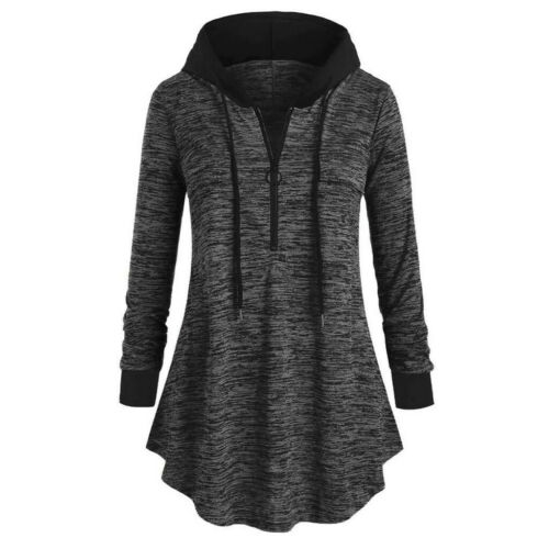 Women Plus Space dyeing Long Sleeve Hooded Sweatshirt Tunic T Shirt Blouse DZ