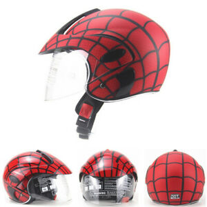 DOT-Youth-Kids-Helmet-Motorcycle-Half-Face-Children-Scooter-Helmet-w-Sun-Visor