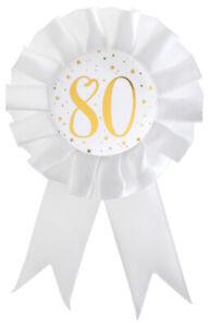 Anstecker Rosette 18 Geburtstag Satin Brosche weiß gold 8 x 15cm Party Jubiläum