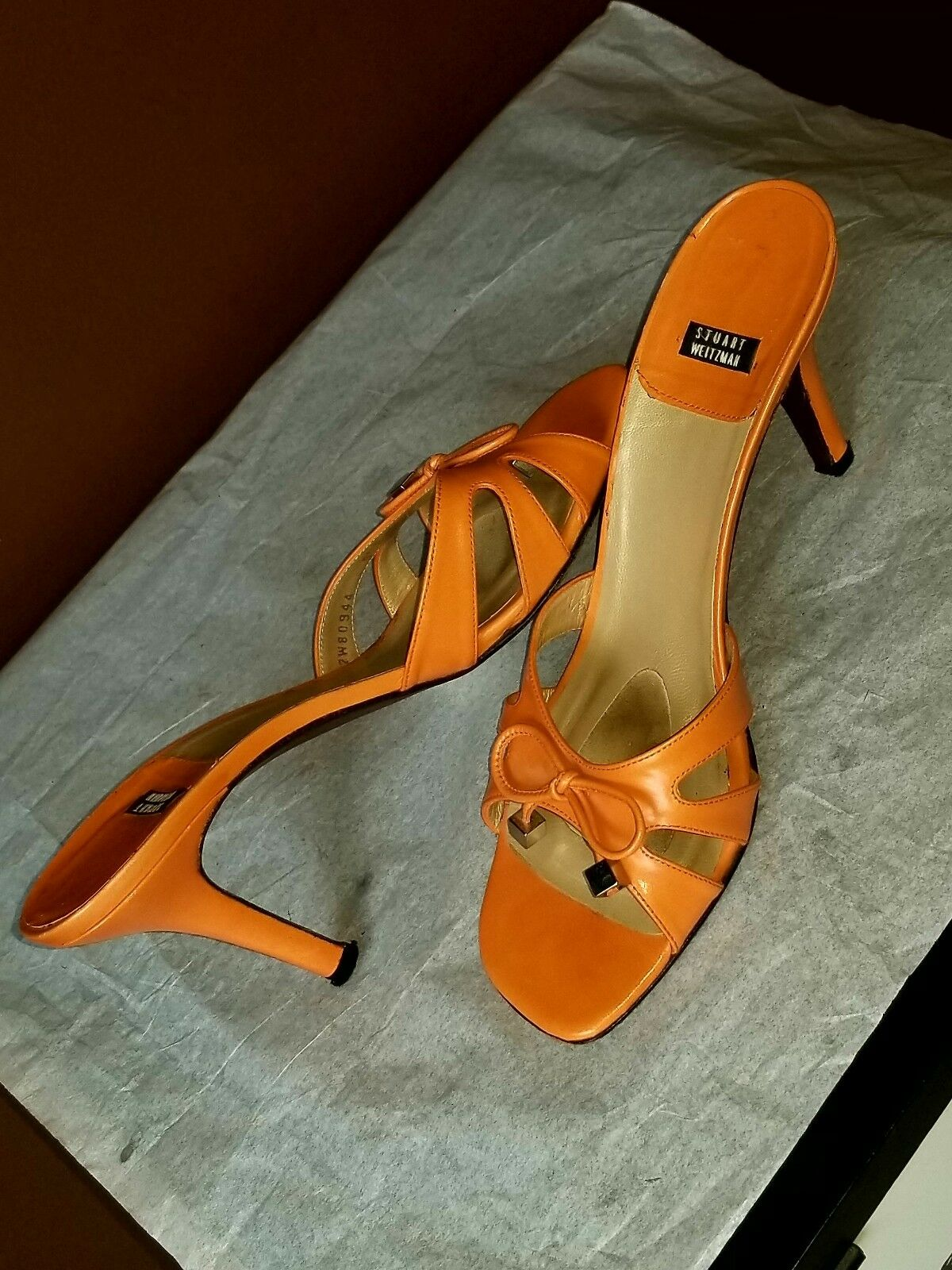 Stuart Weitzman elegant orange sandals, Sz 9.5 B