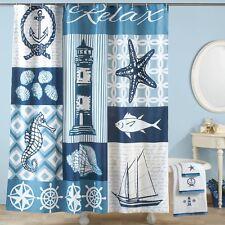 Nautical Beach Seashell Lighthouse Blue Bathroom Bath Fabric Shower Curtain