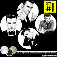 Justin Timberlake Set Of 4 Buttons Or Magnets Or Mirrors Pinback Pins 1395