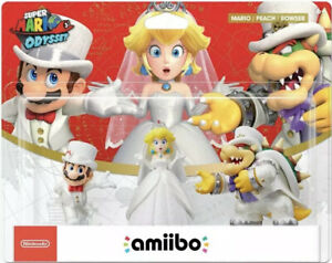 Details About Super Mario Odyssey Amiibo 3 Pack Wedding Outfit Mario Peach And Bowser In Hand